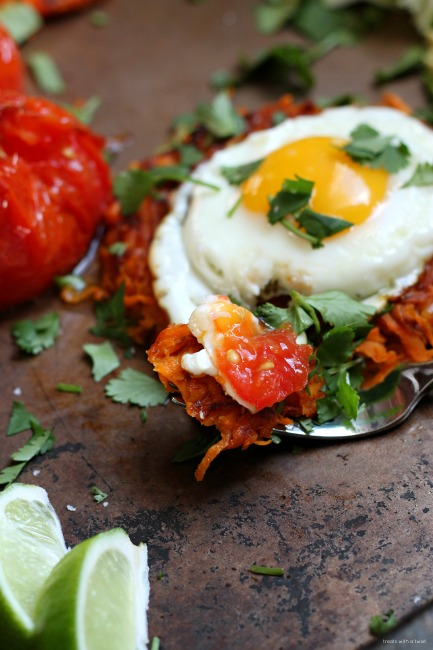 Blistered Tomato Sweet Potato Hash Brown Stack // treatswithatwist.com