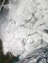 Satellite view of hurrican Sandy off the US coast, 29 October 2012