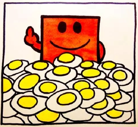 A picture of Mr Strong and eggs