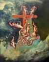 A picture of Crucifixion, Tom de Freston, 2013, oil on canvas, 200 x 150cm