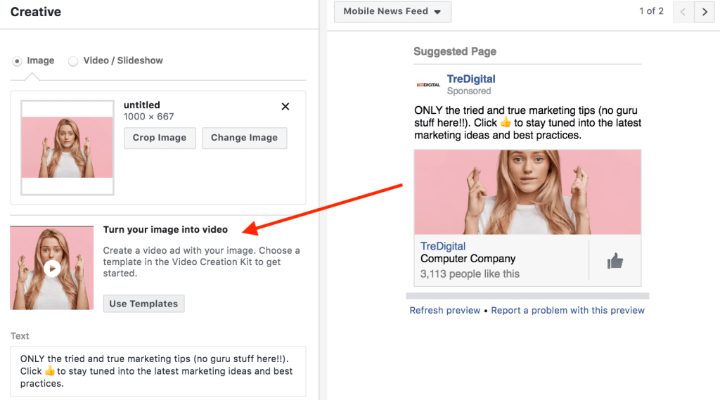 Convert your Facebook images ads into video