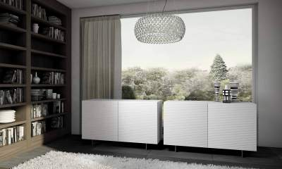 Italian Design Modern sideboard OLA by Riflessi-gloss-white-lacquered-2-doors-ola-o2-riflessi-detail-2
