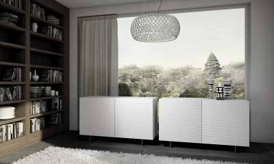 Italian Design Modern sideboard OLA by Riflessi-gloss-white-lacquered-2-doors-ola-o2-riflessi-detail-2