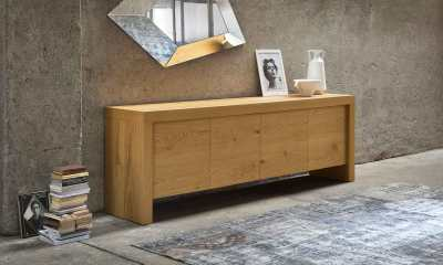 Contemporary Italian Design sideboard T WOOD by Riflessi-sideboard-with-framework-in-hollow-core-veneered-by-raw-oak-twood-detail-2