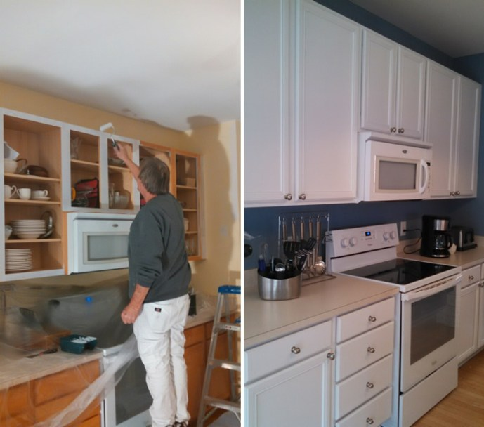 Kitchen Cabinet Painting, before and after