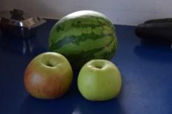 Monty's Surprise apples against a water melon. Photo: Don Mackay, Pelorus Valley