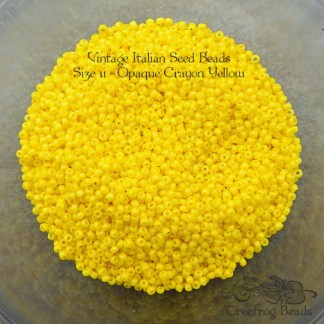 vintage size 11 beads opaque crayon yellow