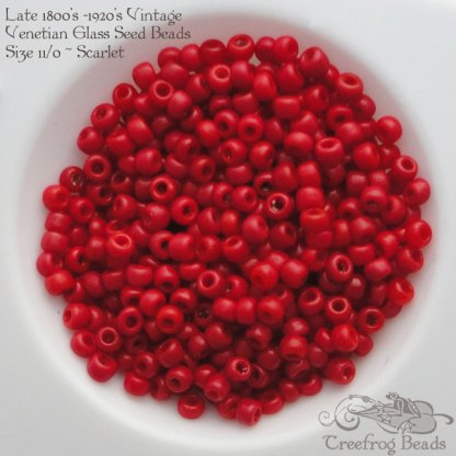 vintage size 11 beads opaque scarlet