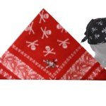 Red and White Pirates Head Scarf / Bandana with Paisley and Skulls/crossbones