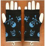 Gloves: 1 Pair – Blue Skull and Bones on Black Fashion Hand Gloves