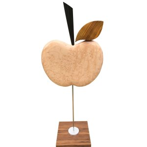 Birds eye maple apple sculpture on stand