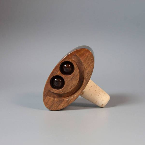 Happy/Sad Walnut bottle stopper