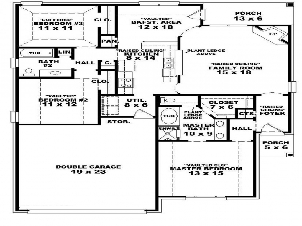 4 Bedroom House 3 Bedroom One Story House Plans Three