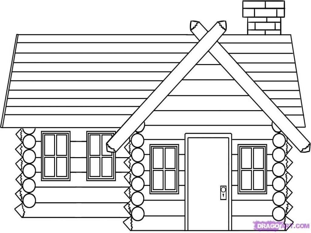 How To Draw Log Cabin House Log Cabin Drawings House