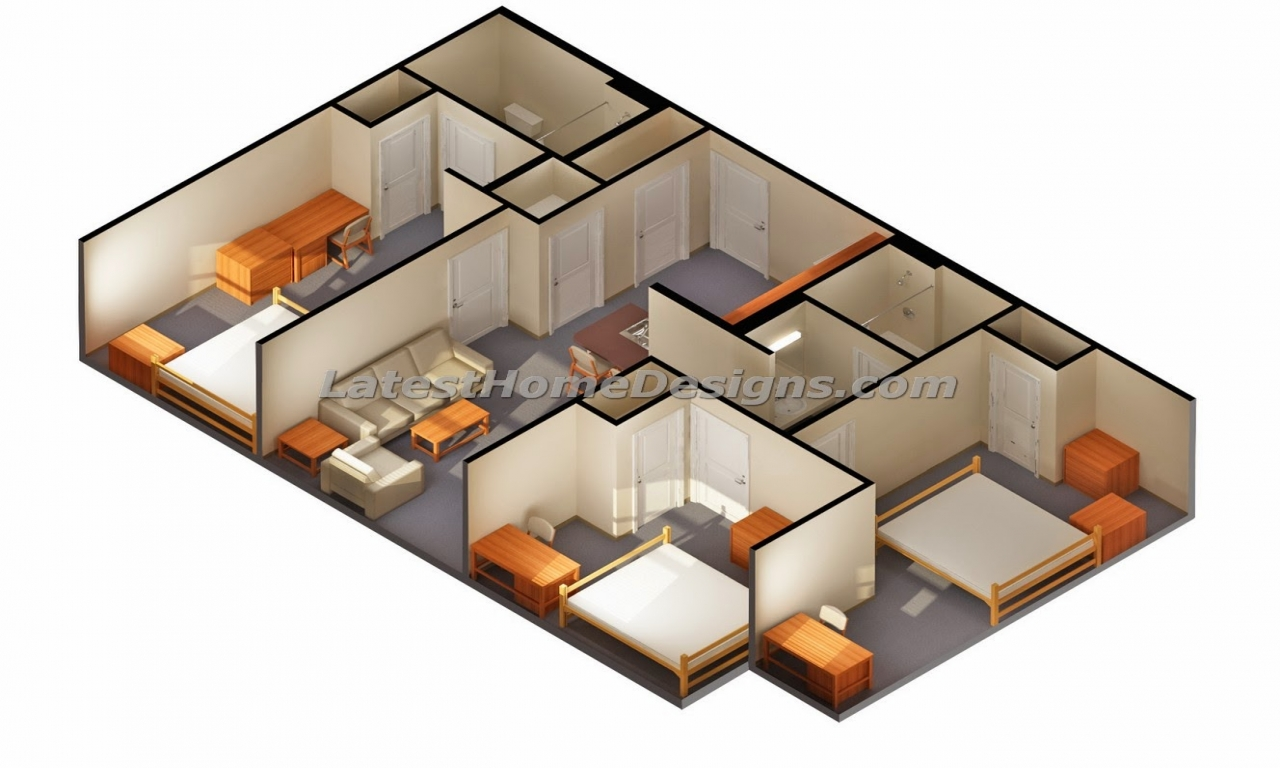 3d 3 Plans Small House Bedroom