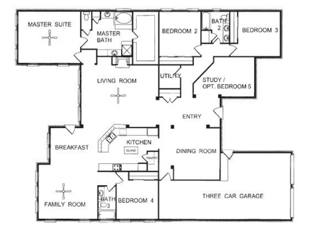 3 Story Townhome Floor Plans One Story Open Floor House