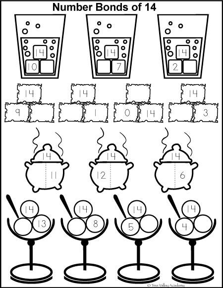Free Printable Number Bonds Kindergarten Worksheets