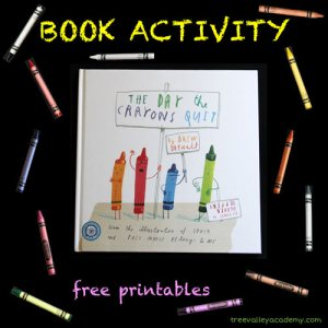 Book Activity to go with The Day The Crayons Quit. 3 page coloring activity adjustable to varying levels. Learning to read, write and spell the names of 12 colours. Free printable.