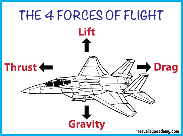 The 4 forces of flight: lift, gravity, thrust & drag.