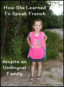 One mom's quest to help her child learn a second language even tho she was unilingual.