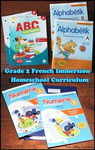 Our Grade 2 Curriculum Choices for our french immersion homeschool. Subjects include: math, french, english, science, art, music, life skills, gym, and bible study.