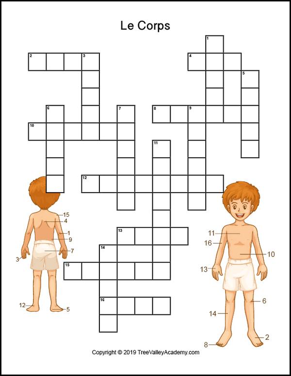 French body parts worksheet. Free printable crossword to practice the names of body parts in french.   Fiche de travail sur les parties du corps. Mots croisés gratuits.
