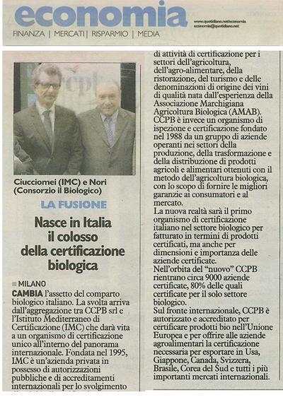 Nasce in Italia il colosso della certificazione biologica