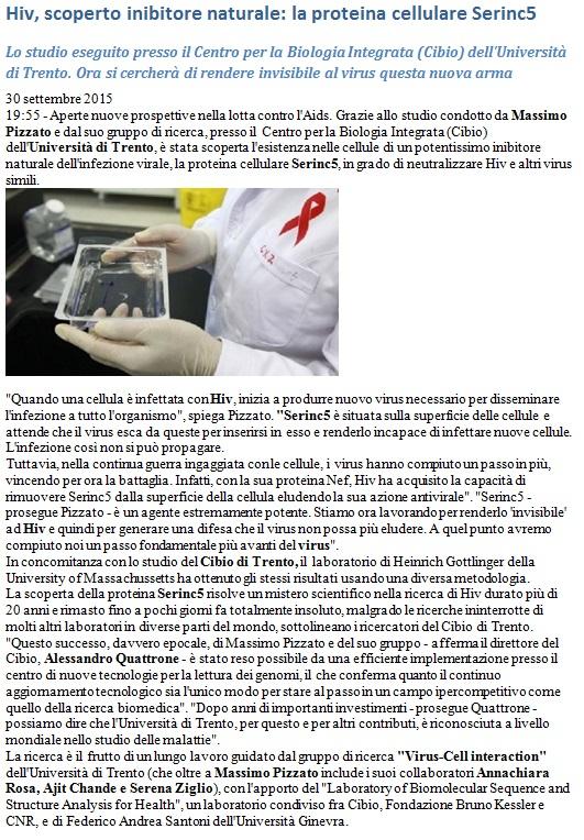 HIV, scoperto inibitore naturale: la proteina cellulare Serinc5