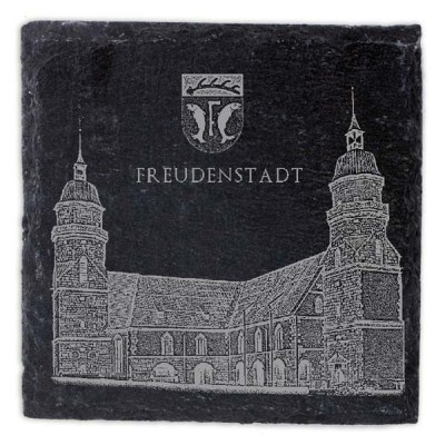 Schieferplatte Untersetzer mit Gravur Kirche