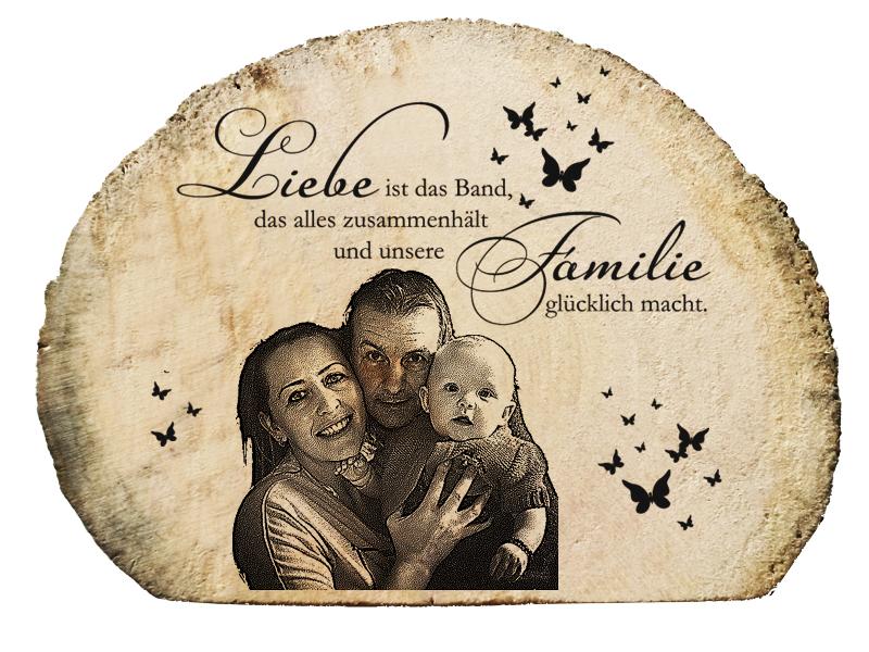 Treibholz Aufsteller mit Gravur mit Familienbild