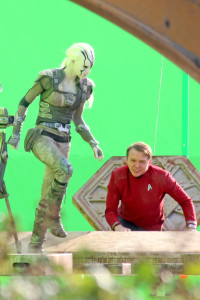 "*EXCLUSIVE* Vancouver, BC - Chris Pine, Simon Pegg, Sofia Boutella and Anton Yelchin shoot ""Star Trek Beyond"" scenes on what looks like the top of a spaceship vessel that is surrounded by green screens while filming in Vancouver, Canada.  During a break Sophia gives Chris Pine a pat on his behind to tell him to get into the spaceship. AKM-GSI         August 17, 2015 To License These Photos, Please Contact : Steve Ginsburg (310) 505-8447 (323) 423-9397 steve@akmgsi.com sales@akmgsi.com or Maria Buda (917) 242-1505 mbuda@akmgsi.com ginsburgspalyinc@gmail.com"