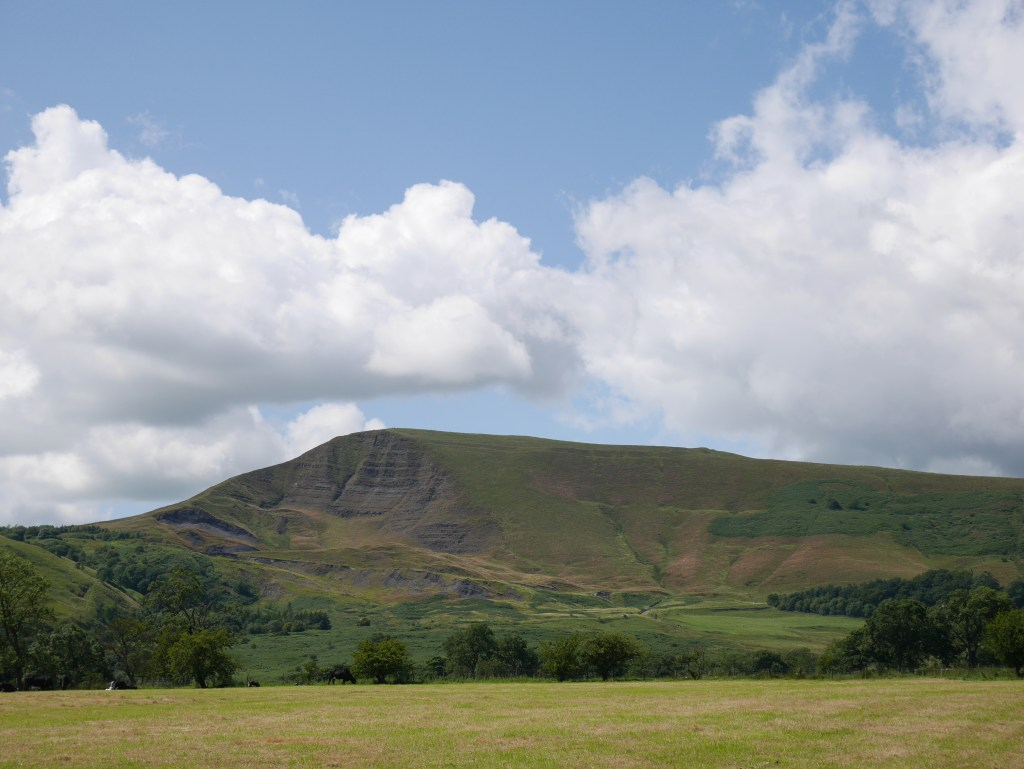Looking back at Mam Tor in the Peak District