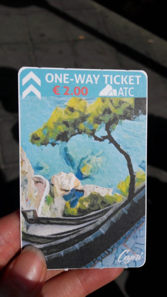A bus ticket in Capri