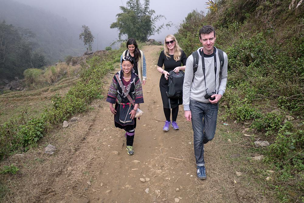 Walking is the primary mode of transportation in Sapa