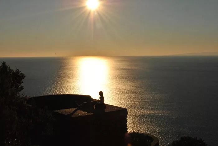 Uno splendido tramonto sul mare, dal sentiero Camogli-San Fruttuoso