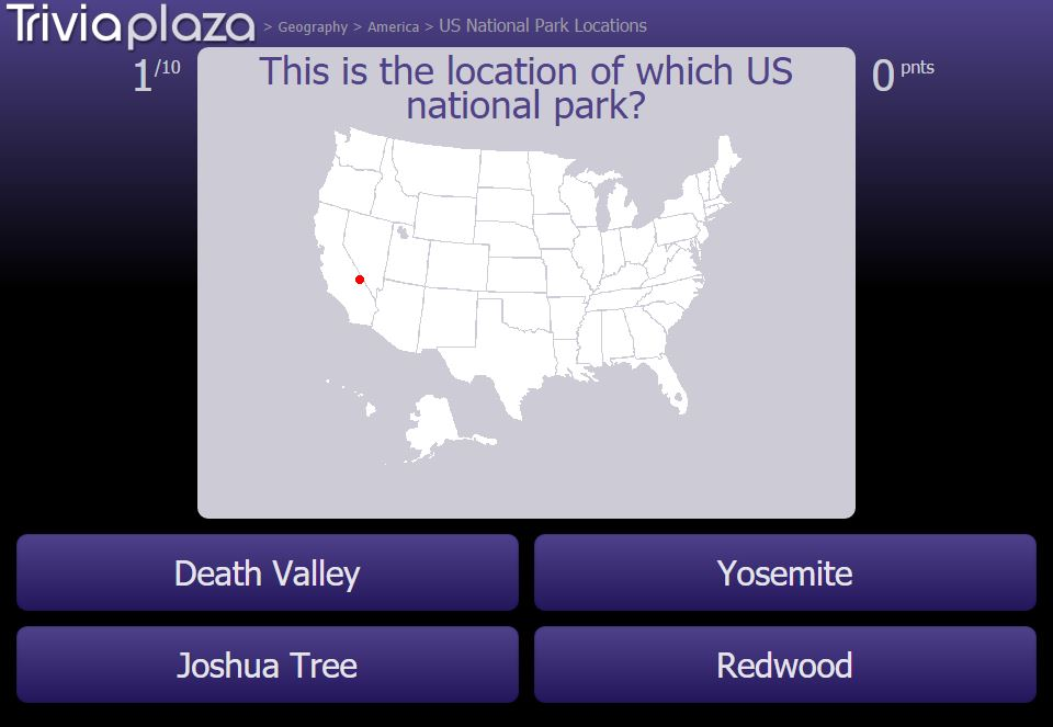 Tuesday Quiz: Find the location of the U.S. National Parks ...