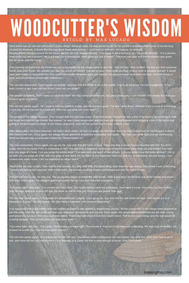 bce72d5b502 About Your Blessings Curses - Trekking Thru