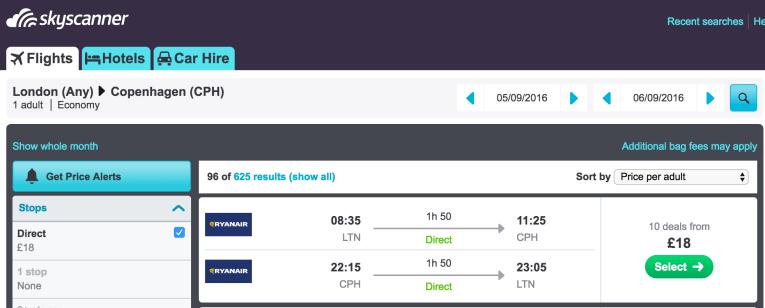 Cheap direct flights to Copenhagen from London