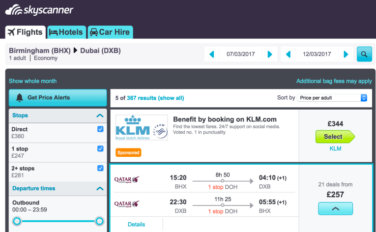 cheap flight on Qatar airways to Dubai from Birmingham