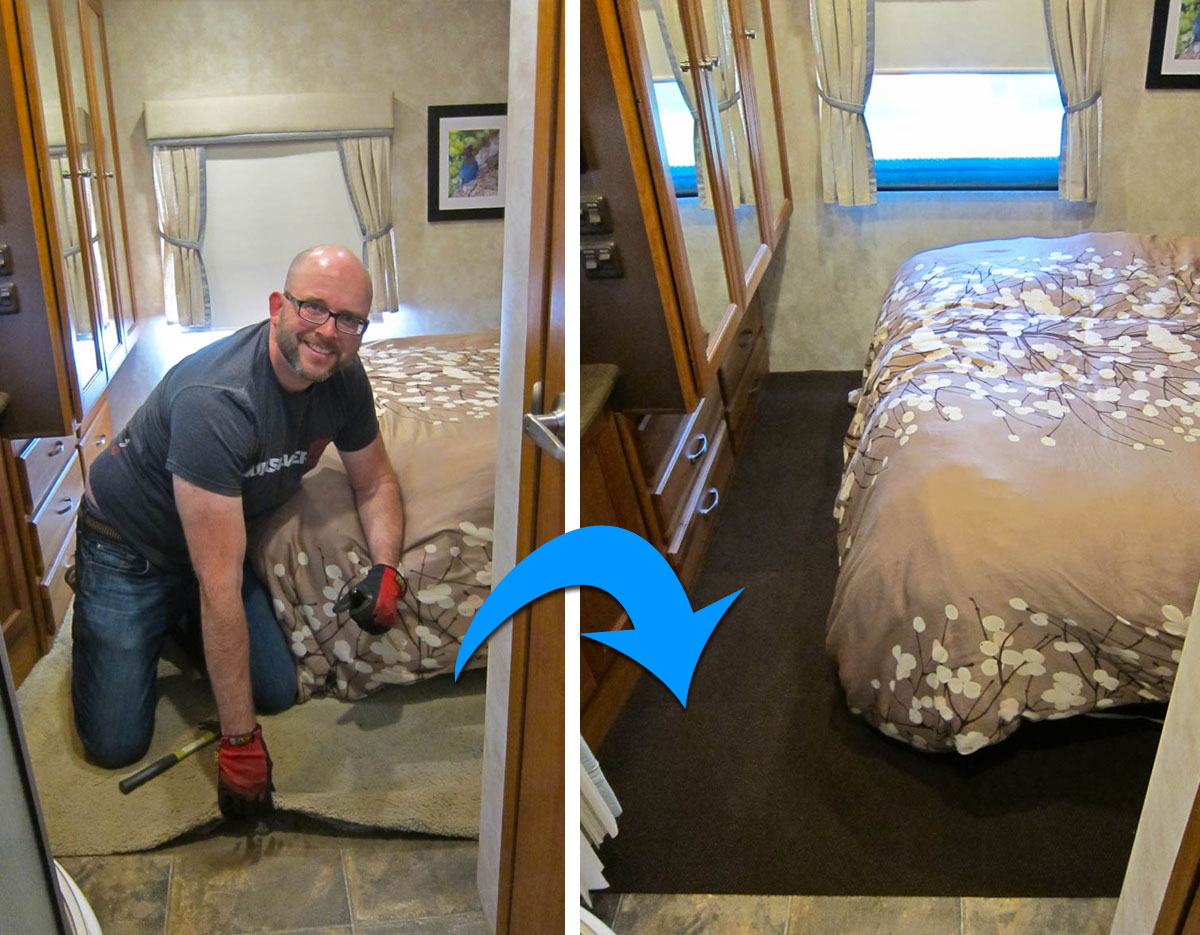 Replace RV Carpet with Carpet Tiles