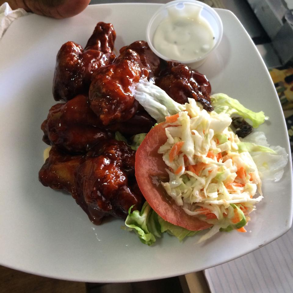 tasty wings served daily at trellis bay market