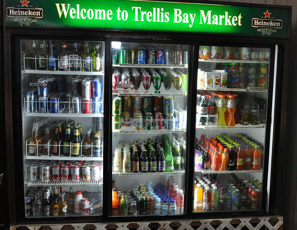 beverages available at trellis bay market