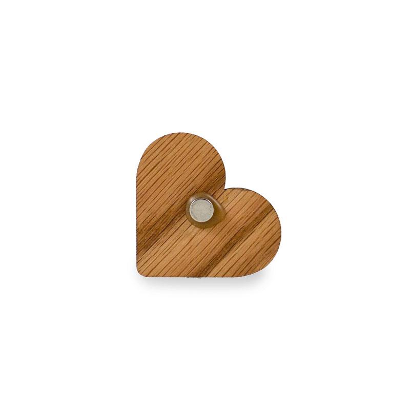 Magnet in Form eines Herz aus Eiche