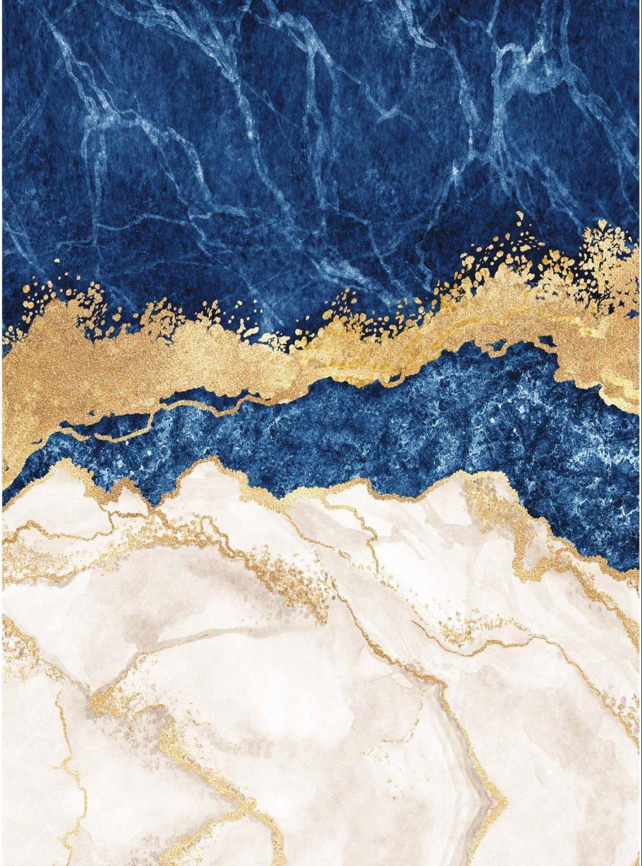 tapis wilton padova bleu blanc or