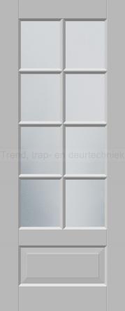 <h5>Trend R562</h5><p>Paneeldeur uit te voeren met A1, A2, B1, B2 en E1 profilering.  Keuze uit beglazingssoorten, Blank glas, Satijn glas, Blank facet geslepen glas en Satijn facet geslepen glas.</p>