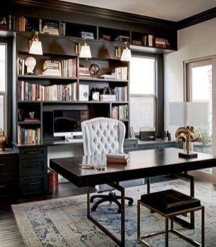Best Home Office Ideas With Black Walls 13