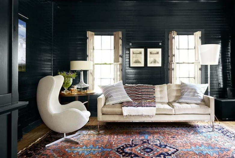 Best Living Room Ideas With Black Walls 46