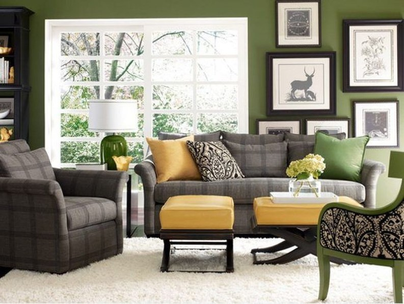 Enchanting Living Rooms Ideas With Combinations Of Grey Green 41