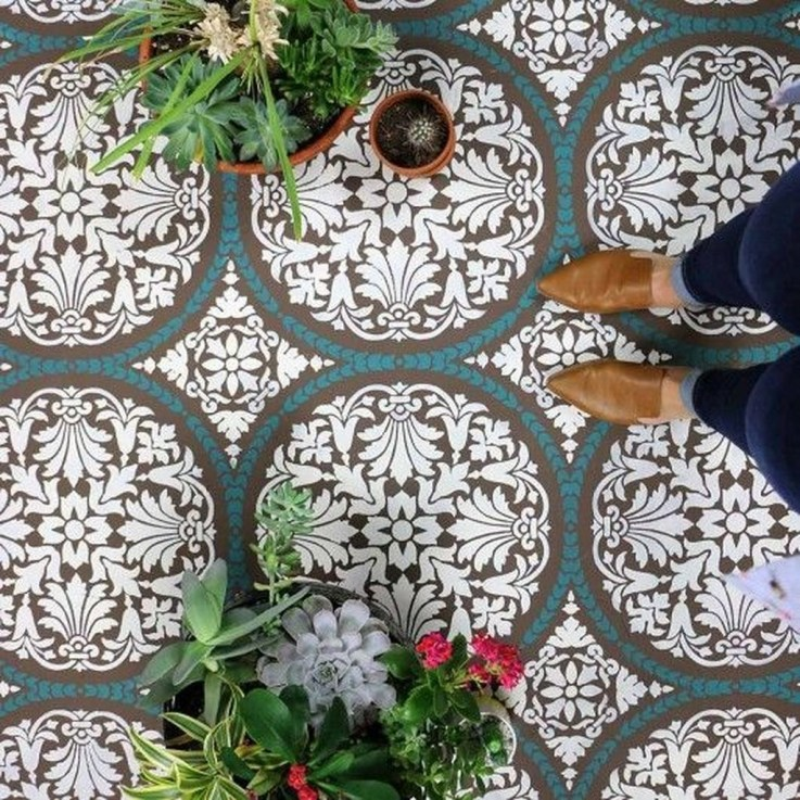 Unusual Diy Painted Tile Floor Ideas With Stencils That Anyone Can Do 26