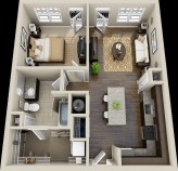 Adorable One Bedroom Apartment Design Idas04